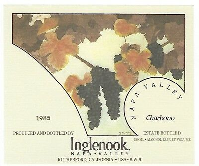 Inglenook Napa Valley Winery 1985 Charbono wine bottle label - Rutherford, CA