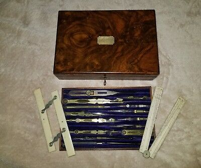 Antique Drafting Set of Engineering Drafting Tools in beautiful case. WOW!