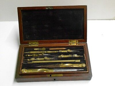 Antique Victorian Draughtsman Instrument Set In Mahogany Fitted Box 1880? Vgc