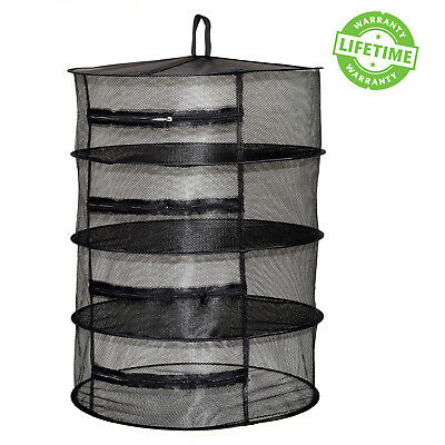 Herb Dryer w/ Zipper 2ft 4 Layers Hanging Herbs Drying Net Rack Black Hydroponic