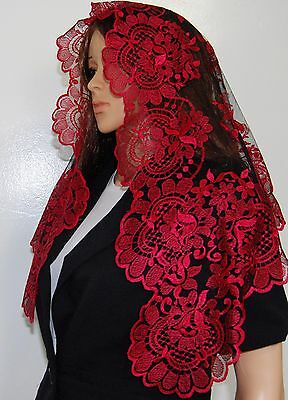 Red with black mesh Spanish style veils and mantilla