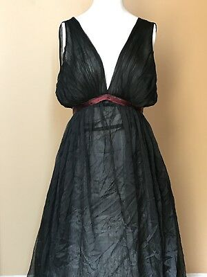 Vintage 1960's Warners Black Tie Back Sheer Sweep Nightgown 34
