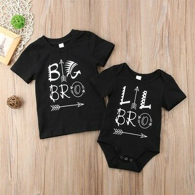 AU Stock Little Brother Baby Boy Kids Romper Big Brother T-shirt Matching Outfit