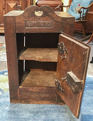 Antique Oak Wall Cupboard, Dated 1779 & Initialed Original Hardware French (?)
