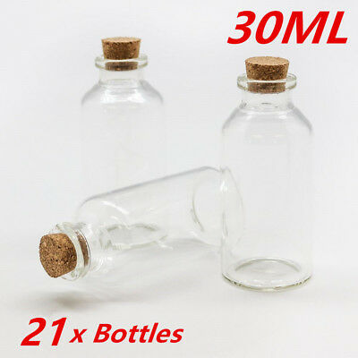 20 x Small Mini 30ml Craft Glass Vial Jars Bottles Containers Cork Stopper Lid D
