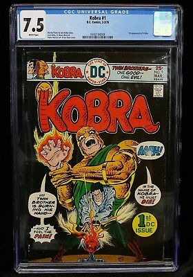 KOBRA  #1 CGC Graded 7.5 VF- DC Comic Book February 1976 White Pages