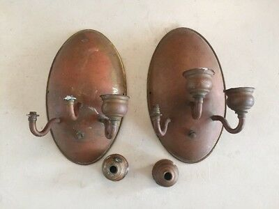 Vintage Art Deco Bronze or Brass Light Fixture/Sconce Lot Of 2 For Parts/Restore