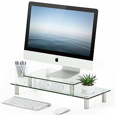 FITUEYES Clear Tempered Glass Computer Monitor Riser with Height Adjustable