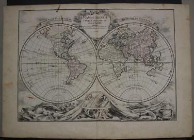 1764 Louis Charles Desnos Antique Copper Engraved Double Hemispheric World Map