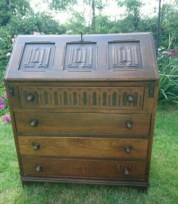 writing bureau dark solid wood (oak), vintage