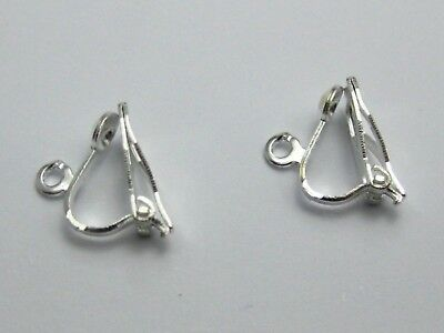 50 Silver Plated Clip On Snap Dangle Earring Hooks Findings Lever Back
