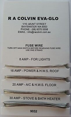 9032 Fuse Wire Card 8 / 16 / 20 / 30 amp 1 metre of each size