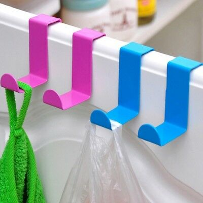 New Over The Door Hangers Clothes Hooks For Bag Coat Holder Solid Color 2PCS