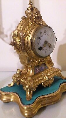 Antique French Gilt & Blue Sevres Mantel Clock & Base.