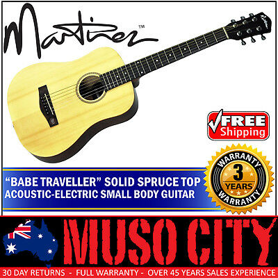 New Martinez Babe Traveller Solid Spruce Top Acoustic-Electric Travel Guitar