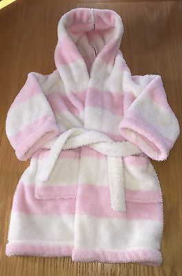 The Little White Company Pink And White Striped Dressing Gown Size 18-24 Months