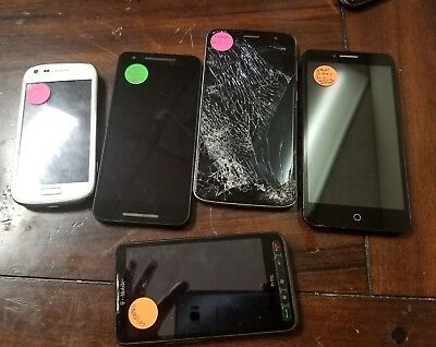 Broken/Cracked Cell Phones LG/Samsung/Galaxy/ZTE/Alcatel For Parts Lot of 5