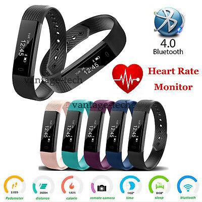 ID115HR Bluetooth Smart Band TRACKER PEDOMETER Heart Rate Monitor Watch Strap