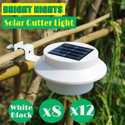 8x 12x Solar Power Gutter Fence Light Outdoor Garden Yard Wall Pathway KE