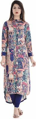 Women Multi Color Abstract Print Pattern Fashion Party Wear Kurta