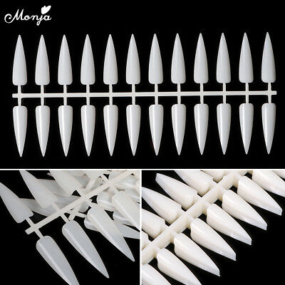 240pcs Natural Stiletto Long Sharp Nail Art False Tips Color Display Board Card