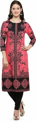 Women Three Quarter Sleeve Printed Pattern Straight Kurta