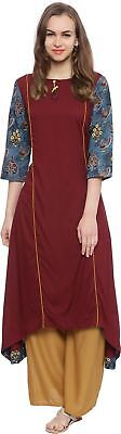 Women Red Color Solid Pattern A-line Kurta
