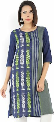 Women Round Neck 3/4 Sleeve Printed Pattern Blue, Green Color Kurta