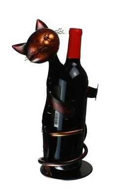 "Metal Cat - Decorative Wine Bottle Holder - Caddy - Display - 33cm Tall"" X"
