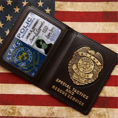 Hot Movie RESIDENT EVIL S.T.A.R.S. Metal Badge Leon Police ID Card Wallet Holder