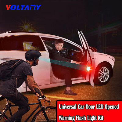 2*Universal Car Door LED Opened Warning Flash Light Kit Wireless Anti-collid Red