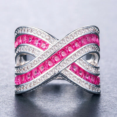 Infinity Pink & White Sapphire Women 925 Silver Jewelry Wedding Ring Size 6-10
