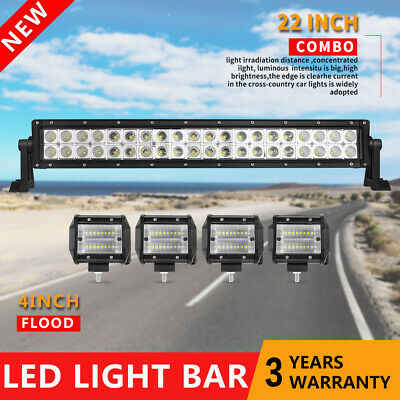 24inch LED Light Bar Combo + 4in Cree Work Lights Offroad Truck Jeep SUV 22/20''