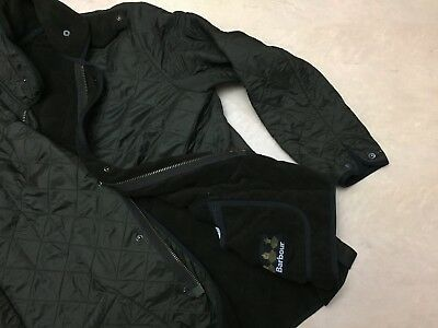 Men's Barbour Polarquilt Long Green Quilted Lined Jacket - L/XL - Casuals SKA