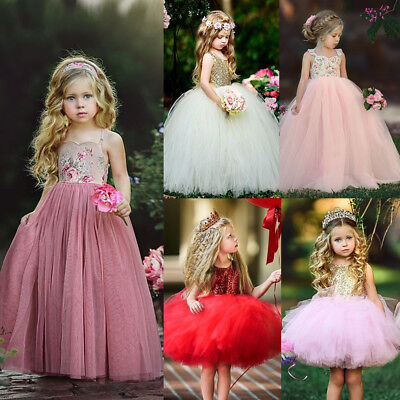 AU Flower Girl Dress Lace Princess Long Dress Party Bridesmaid Dresses Clothing