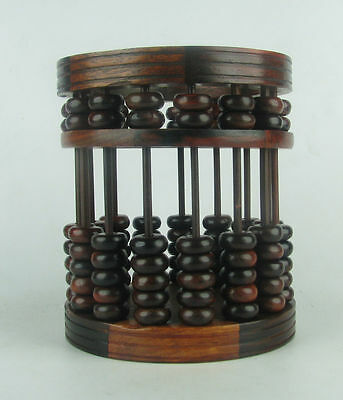 Chinese Beautiful suanzhi wood rosewood carved beads Abacus new round brush pot