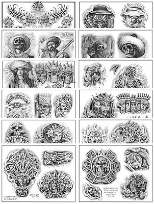 "Black and Gray Tattoo Flash Set 19 Sheets 11x14"" Gangster Aztec Devil Angel"