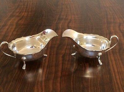 Pair Of Solid Silver Sauce Boats In Vgc And Priced To Sell.