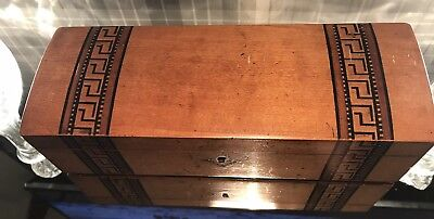Antique Vintage Wood Box Hinged Dome Lid Good Condition Silk Lining RARE 1903