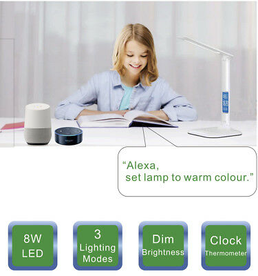 Google Home Mini Alexa Voice Control Smart WiFi LED Desk Lamp Eye Care Light 8W
