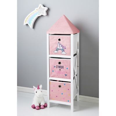 Kids Children Unicorn 3 Drawer Tall Chest Storage Unit Cabinet Home Bedroom New