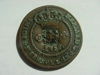 1787  Brazil  10 Reis  -VF + counterstamped w/ coat of arms of Portugal