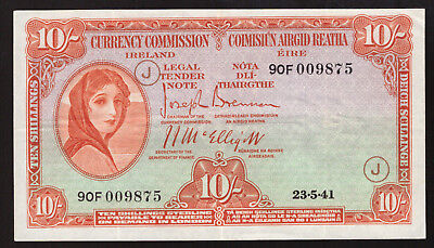Currency Commission Ireland Ten Shilling note 1941 War Code J. Good VF