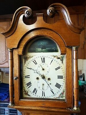 A Georgian Golden Oak Antique Cottage Longcase Grandfather Clock C1820