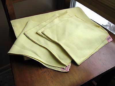 "Vintage LEACOCK PRINTS Yellow Pure Linen Tablecloth 43"" & 4 Napkins 67X54"