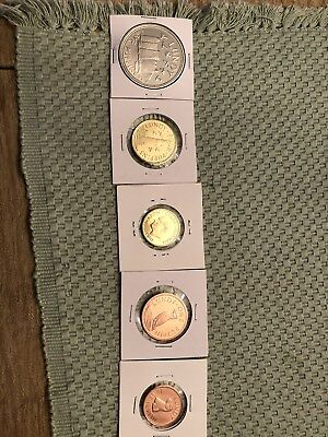 LUNDY ISLAND 5 COIN SET 2011 GEM BU MINT SET 1/2,1,2,4,6 Puffin (10149)