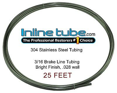 Stainless Steel Brake Line Tubing Kit 3/16 OD 25' Foot Coil Roll AN 45 Flare SAE
