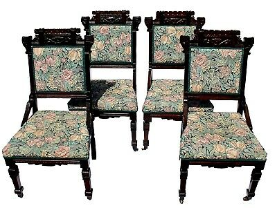 Antique Eastlake Aesthetic Period Ebonized Parlor Chairs, Restored, Set of Four
