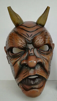 Antique Nikolaus Krampus wood handcarved BLACK FOREST Devil Mask Gothic oddities