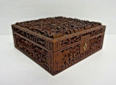 Impressive Vintage Chinese Cantonese Hand Carved Wood Box